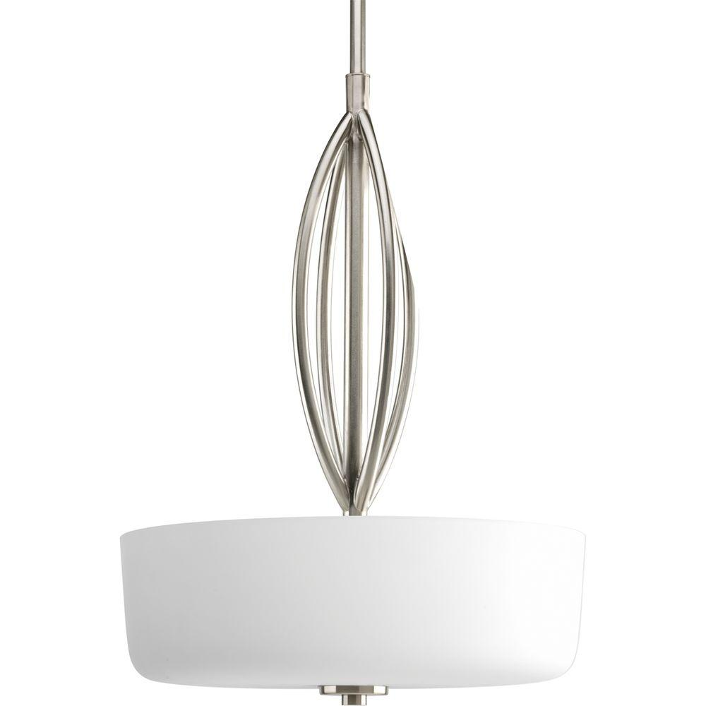 Progress Lighting Pendant Lights Calven Collection 3-Light Brushed Nickel Pendant P5004-09