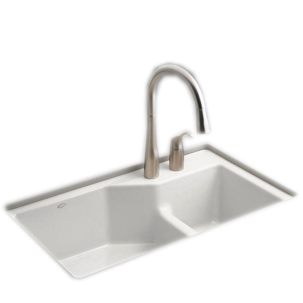KOHLER Indio Smart Divide Undermount Cast Iron 33 in. 2-Hole Double Bowl Kitchen Sink in White