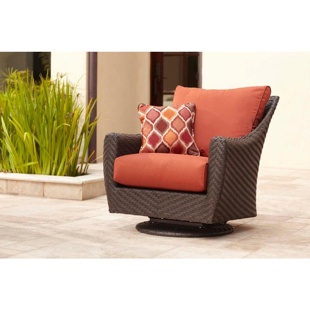 Brown Jordan Highland Patio Motion Lounge Chair in Cinnabar with Empire Chili Throw Pillow -- STOCK