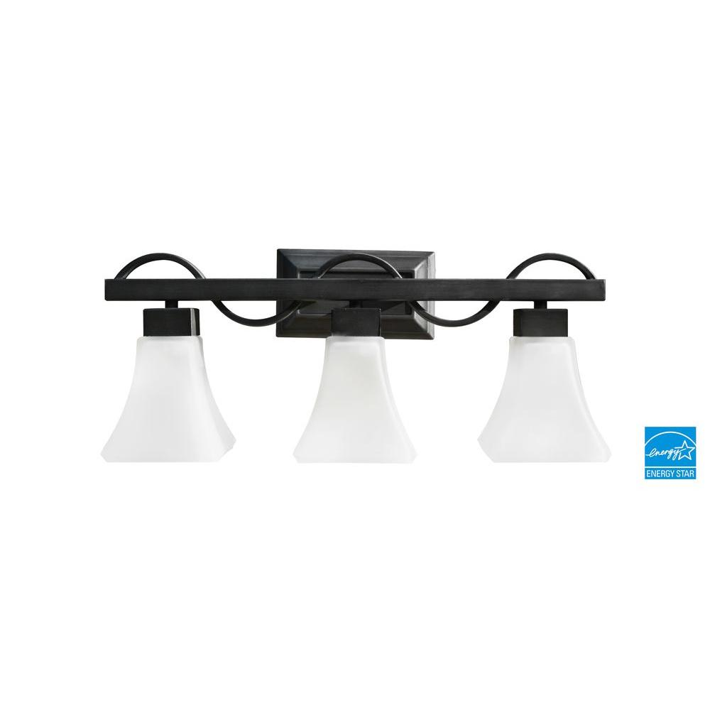 Efficient Lighting Contemporary 3-Light Vanity in Powder Coated Nickel Finish with Bulbs-DISCONTINUED