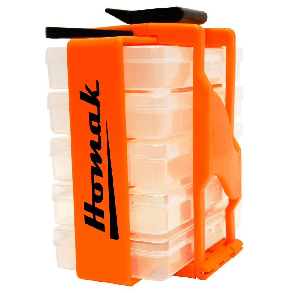 Homak 5-Compartment Small Parts Organizer, Clear and Orange