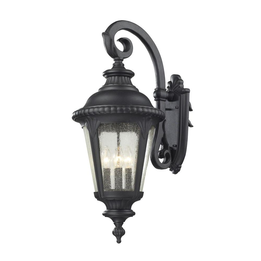 Lawrence 4-Light Black Incandescent Outdoor Wall Light-CLI-JB545B-BK - The Home