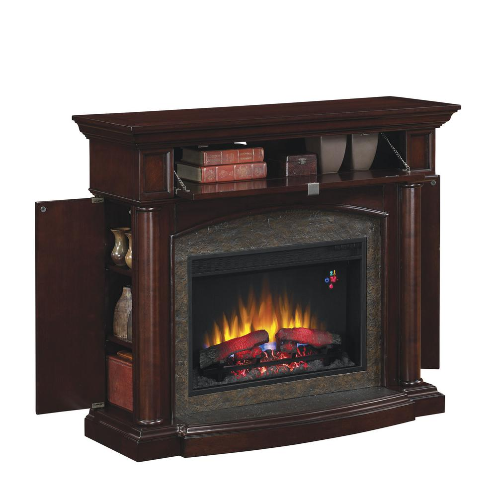 Electric Fireplace Heaters Home Depot: Chimney Free Moraine 48 In. Electric Fireplace In Roasted