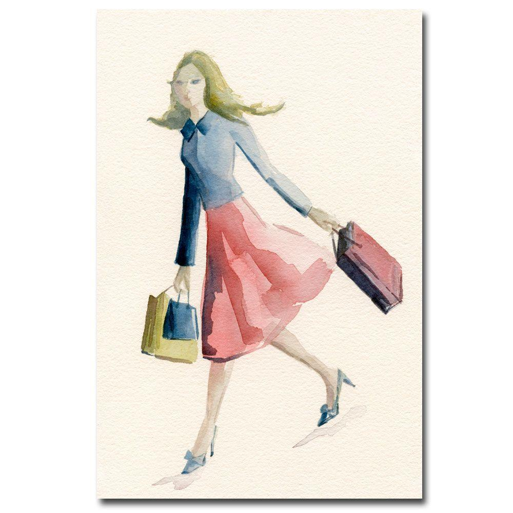 Trademark Fine Art 16 in. x 24 in. Woman Shopping Blue Jacket Canvas Art-DISCONTINUED