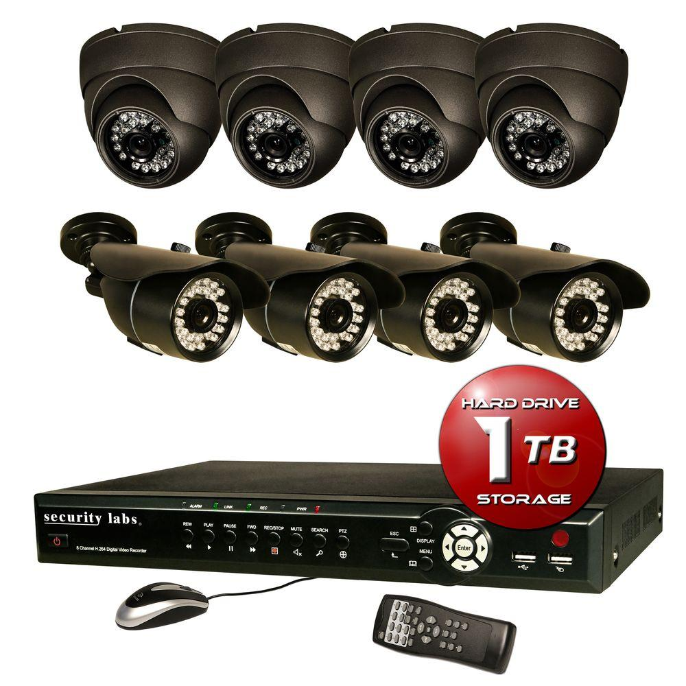 Security Labs 8 CH Surveillance System with H.264 / Smartphone DVR, 1TB HDD with (4) IR Turret Dome and (4) Bullet cameras