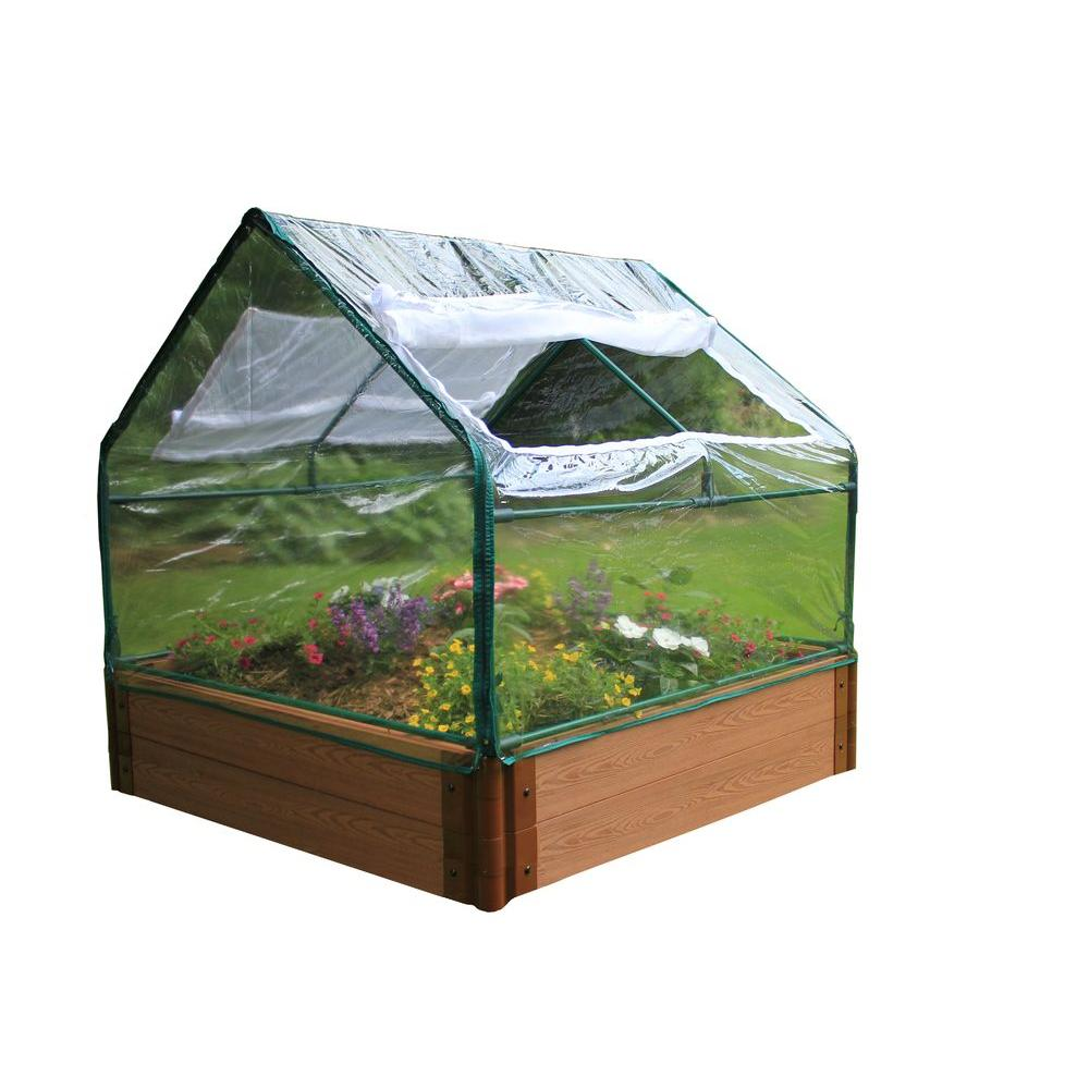 Frame It All Soft PVC Greenhouse with 4 ft. x 4 ft. x 12 in. Raised Bed-DISCONTINUED