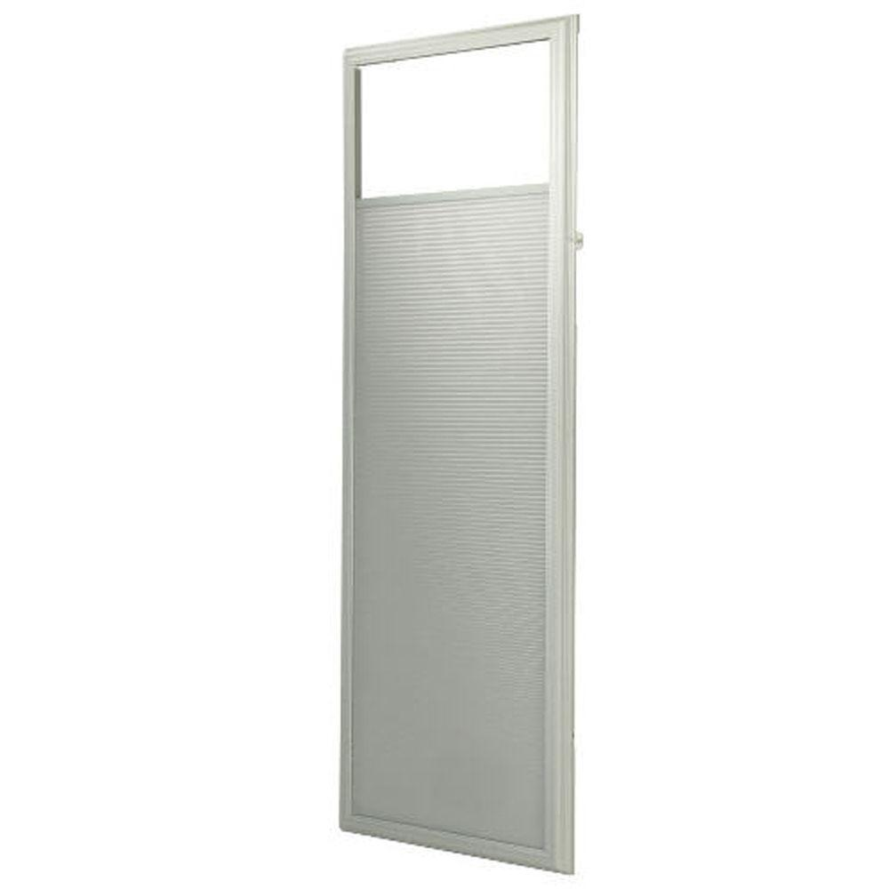 ODL 22 in. x 64 in. Enclosed AddOn Cellular Shade in White for Steel & Fiberglass Doors with Frame Around Glass-DISCONTINUED