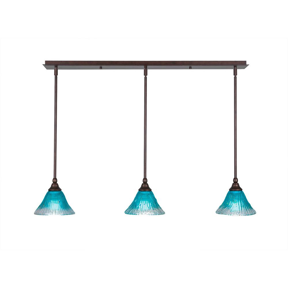 3-Light Bronze Island Pendant with Teal Ribbed Glass