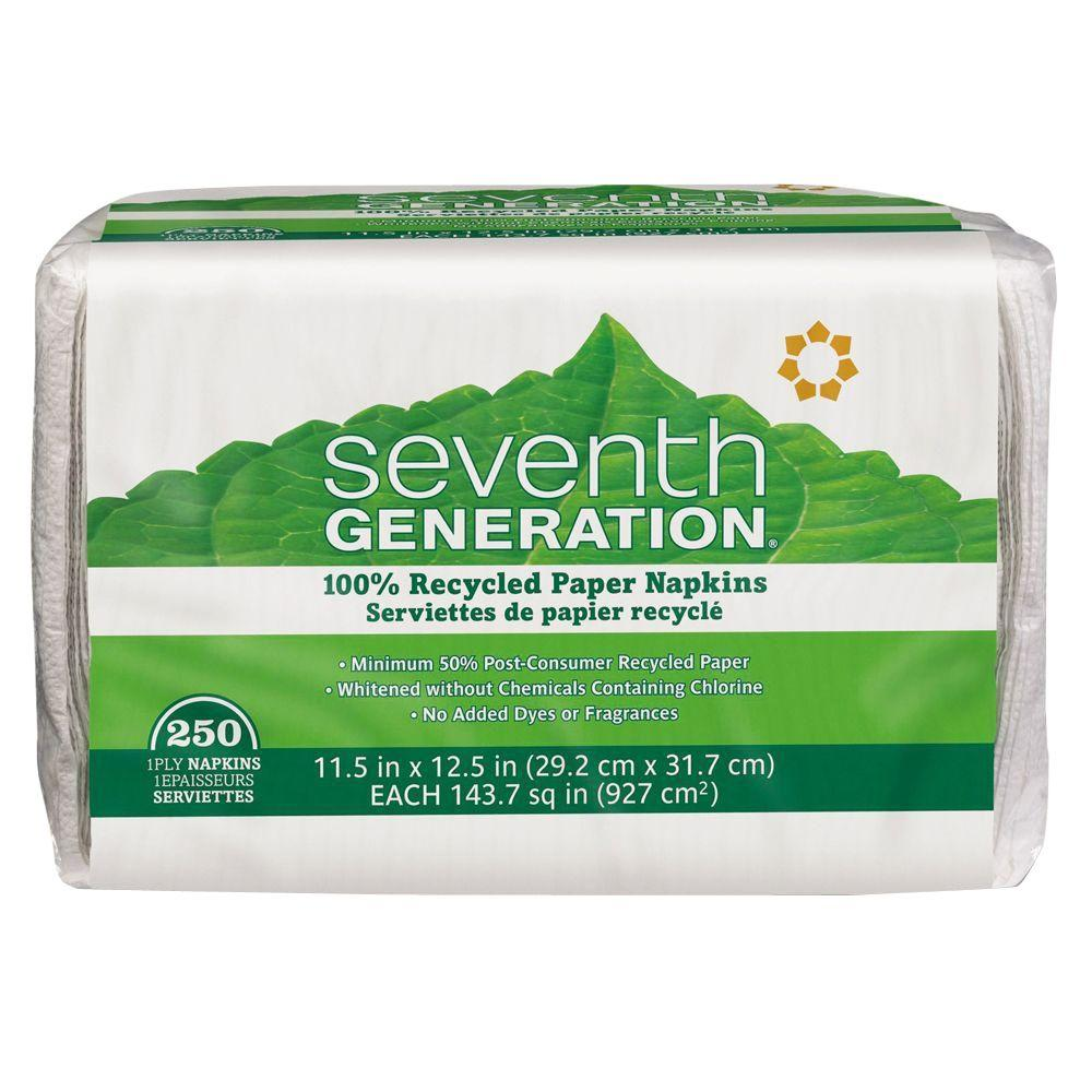 SEVENTH GENERATION 100% Recycled White Luncheon Napkins (250-Count)-SEV 13713 -