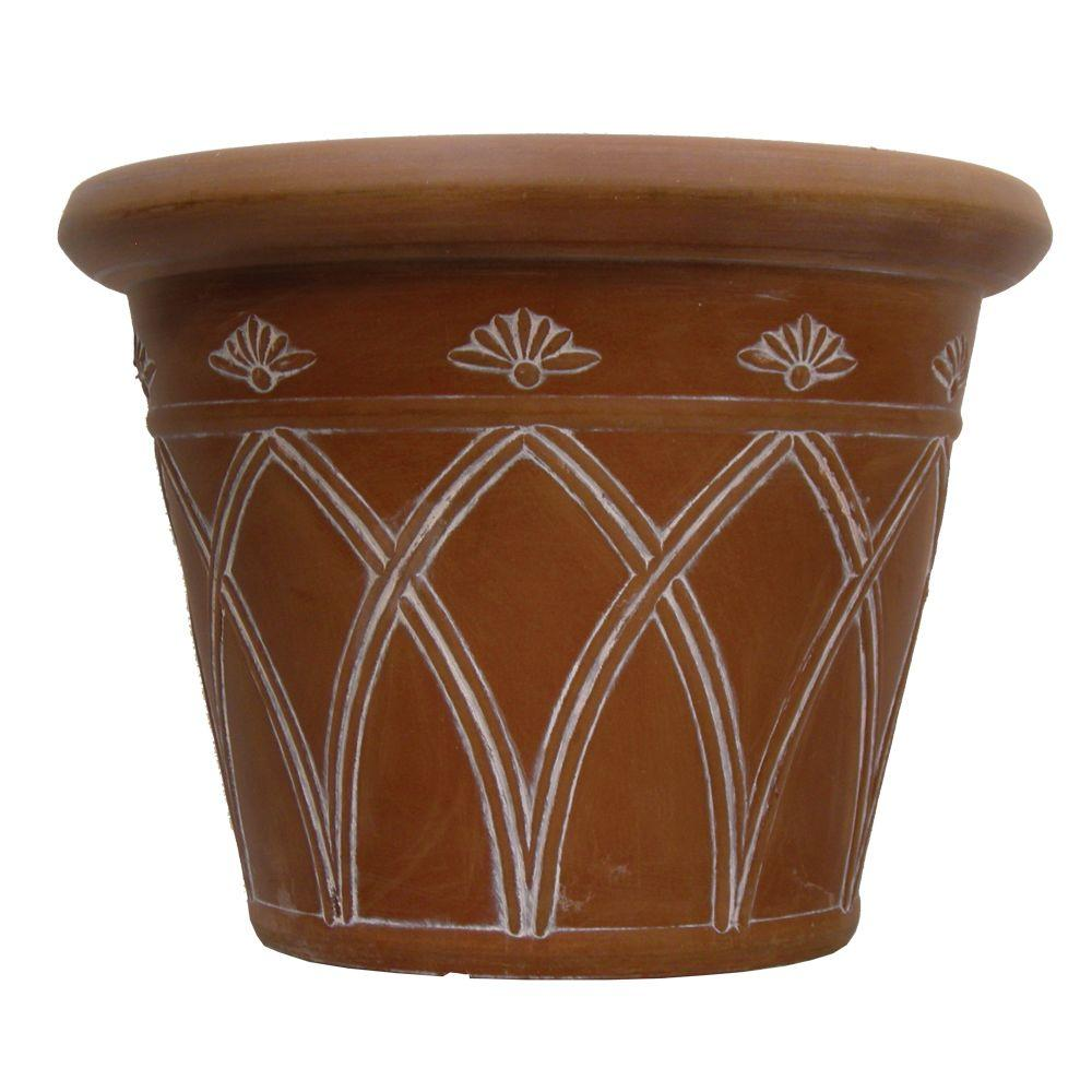 Pride Garden Products 16 in. Round Terra Cotta Arch Plastic Planter (2-Pack)