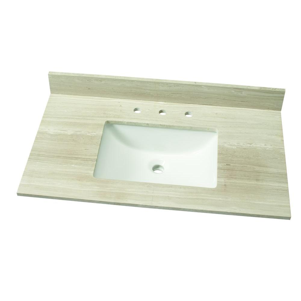 37 in. W Marble Single Vanity Top in White Oak with