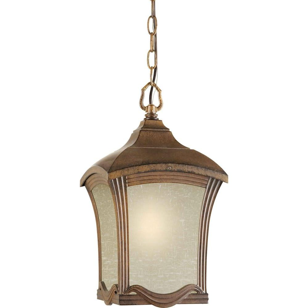 Talista 1-Light Outdoor Rustic Sienna Pendant with Umber Linen Glass Panels