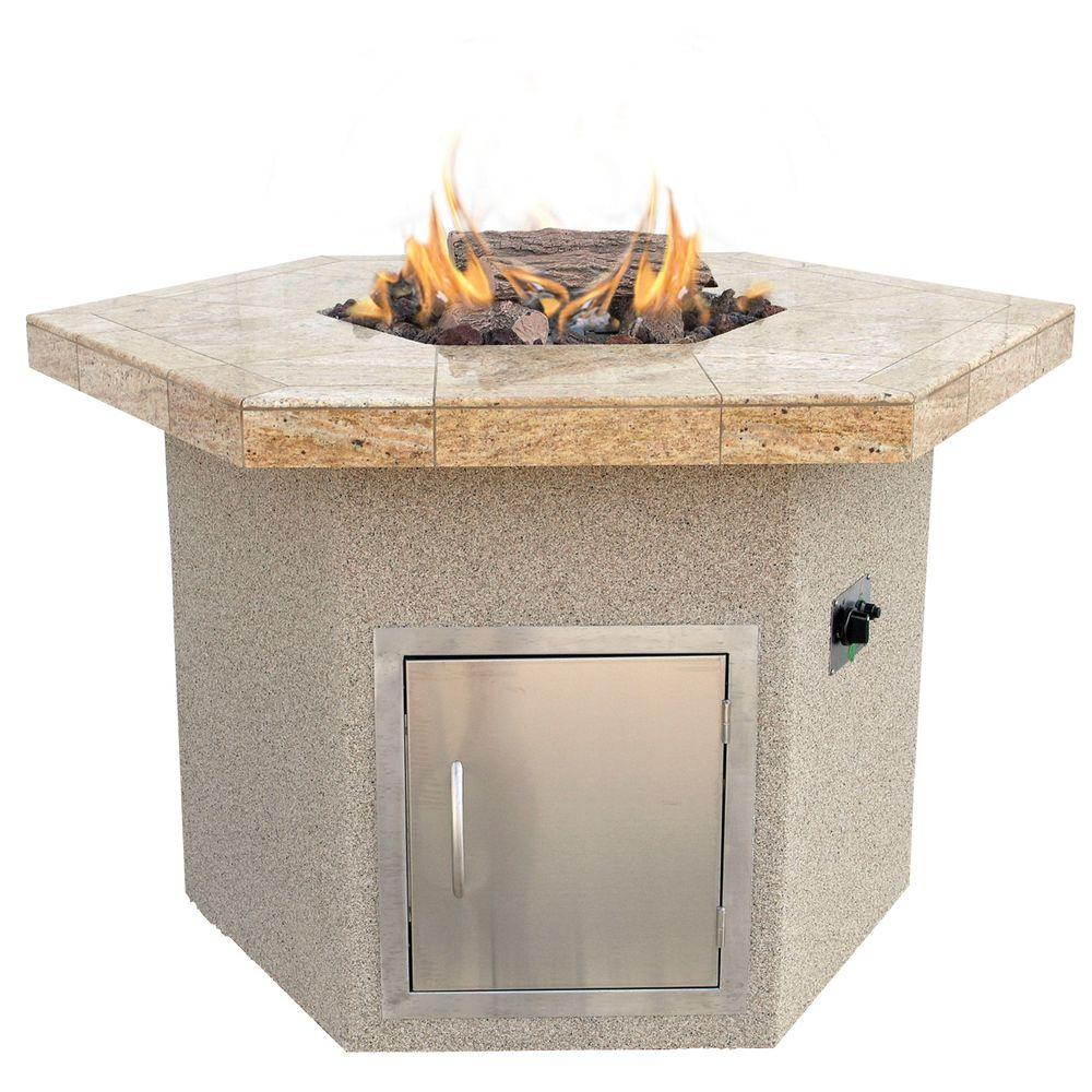 Cal Flame Stucco and Tile Dining Height Hexagon Propane Gas Fire Pit