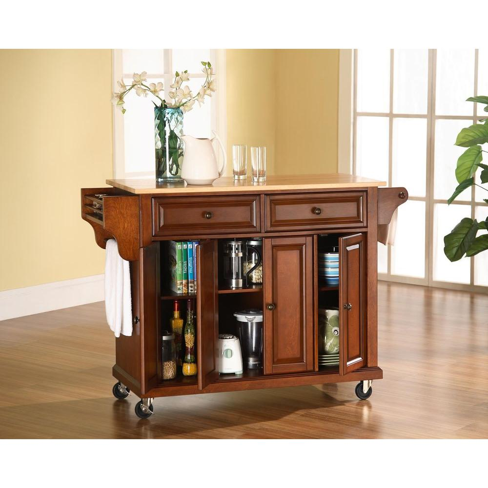 Crosley 52 in. Natural Wood Top Kitchen Island Cart in Cherry-KF30001ECH