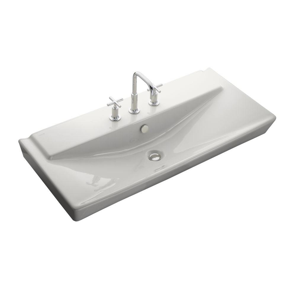 Reve Wall-Mount Ceramic Bathroom Sink in Whites with Overflow Drain
