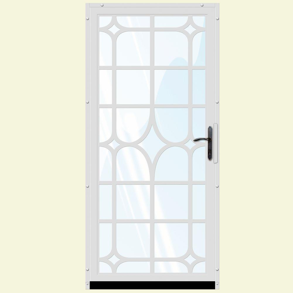 Unique Home Designs 36 In X 80 In Lexington White Surface Mount Steel Security Door With
