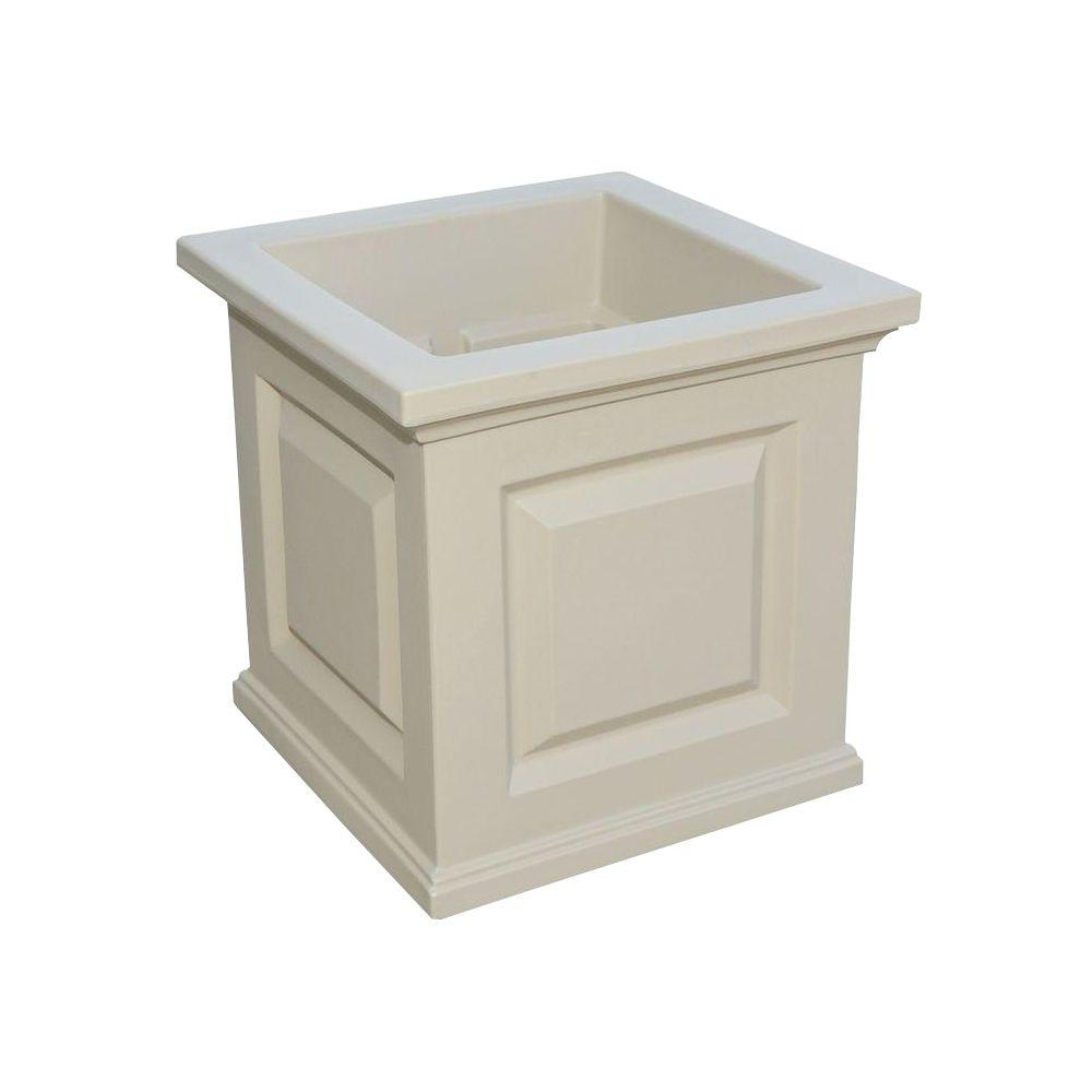 Mayne Nantucket 16 in. Square Clay Plastic Planter-5865-C - The Home