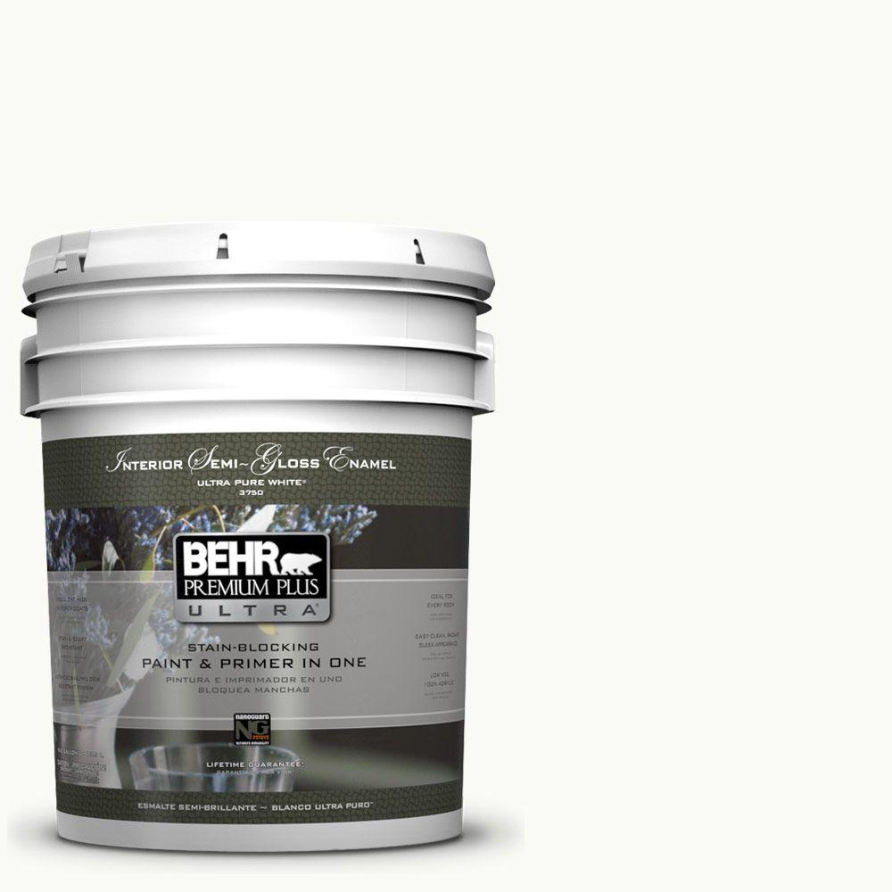 BEHR Premium Plus Ultra 5-gal. #PPU18-6 Ultra Pure White Semi-Gloss Enamel Interior Paint