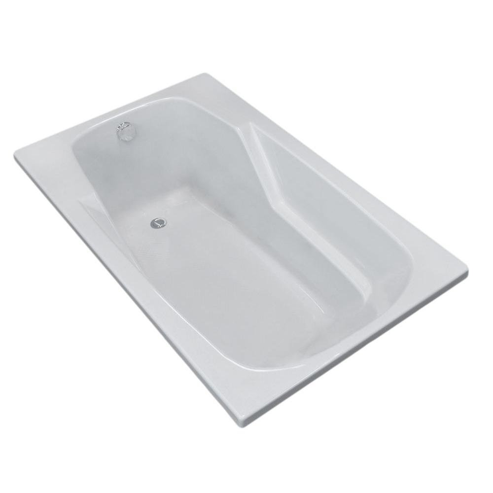 Coral 6 ft. Acrylic Center Drain Rectangular Drop-in Non-Whirlpool Bathtub in