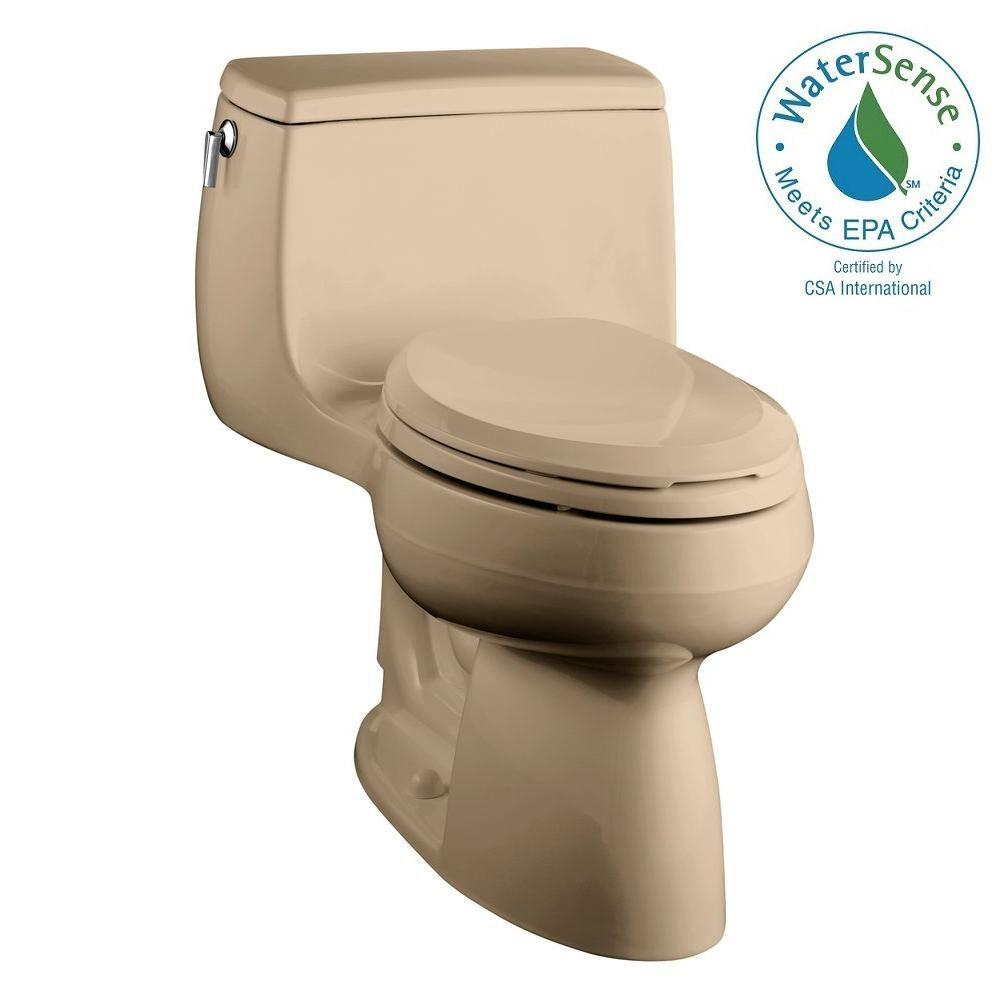 KOHLER Gabrielle Comfort Height 1-Piece 1.28 GPF Single Flush Elongated Toilet with AquaPiston Flushing Technology in Dune