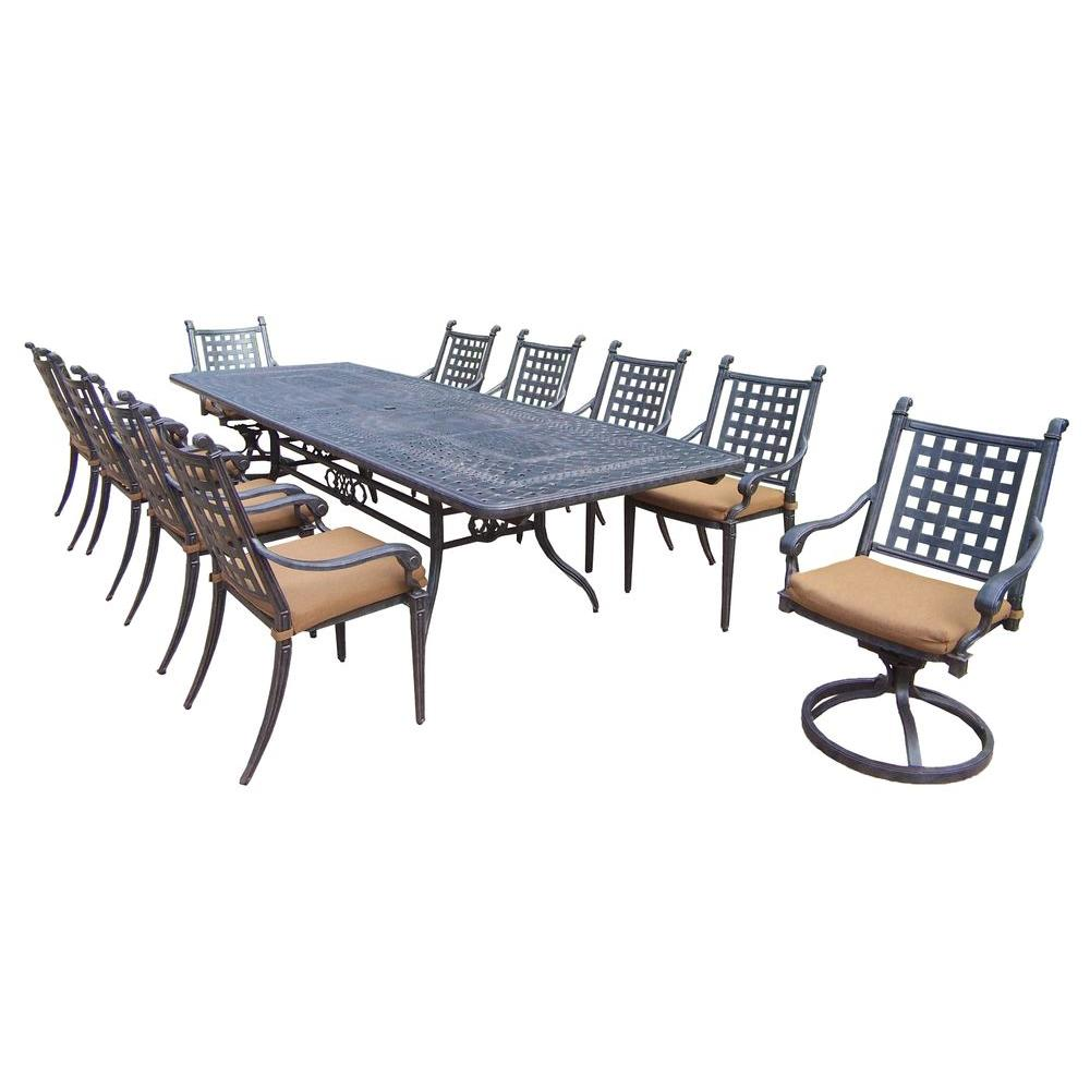 Hanover Manor 9 Piece Rectangular Patio Dining Set With Eight Swivel Rockers