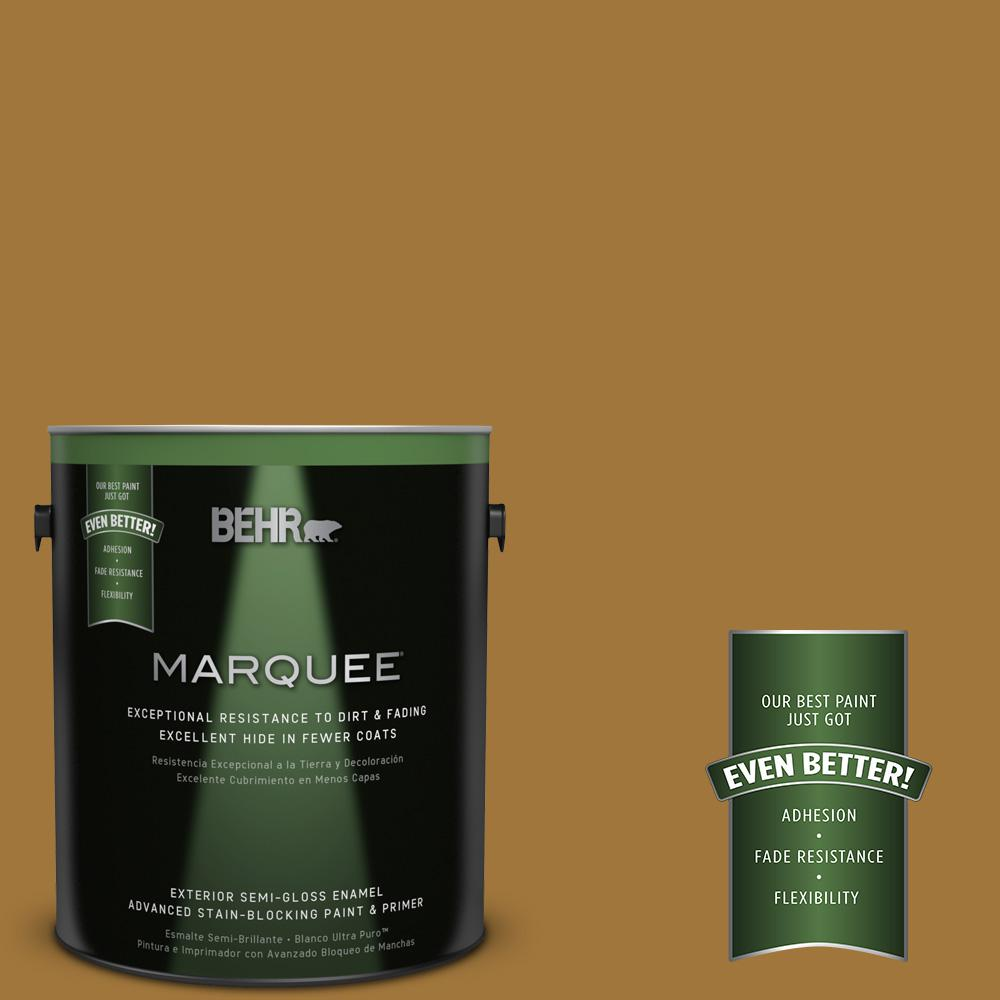 BEHR MARQUEE 1-gal. #310F-6 Goldenrod Tea Semi-Gloss Enamel Exterior Paint