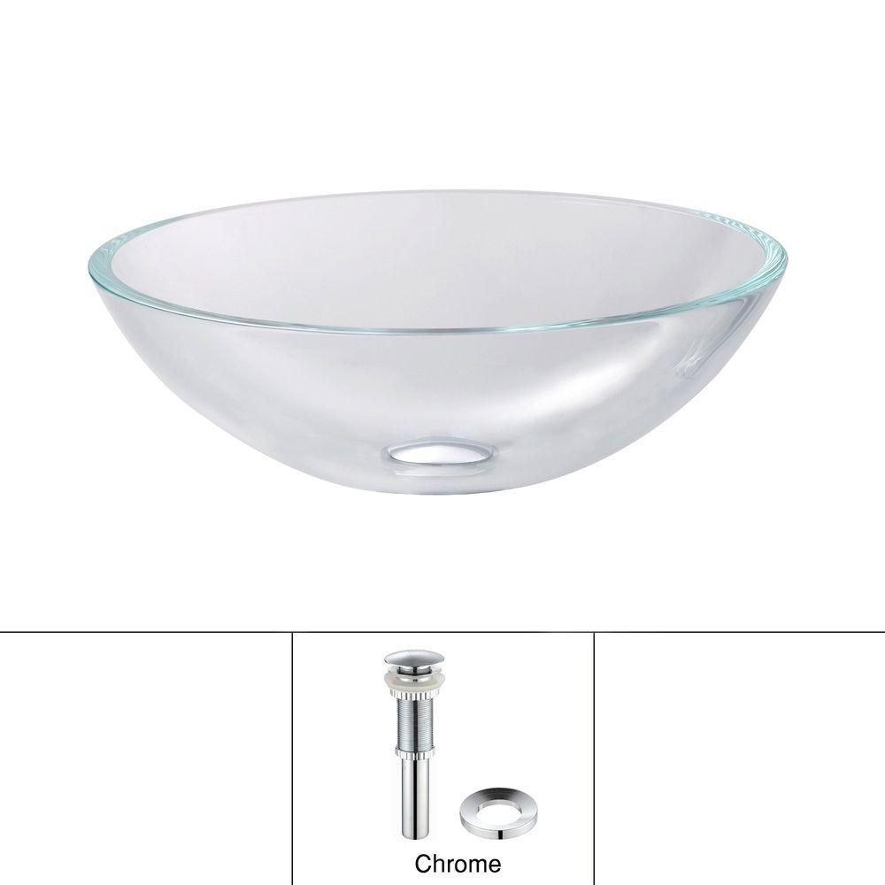 KRAUS Glass Vessel Sink in Crystal Clear with Pop-Up Drain and