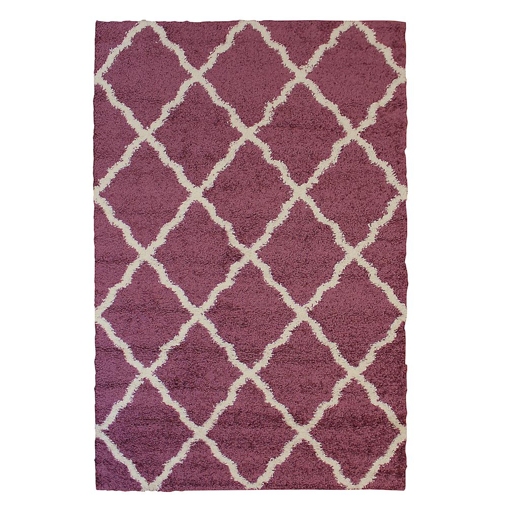 World rug gallery contemporary modern trellis cream 5 ft for Plum and cream rug