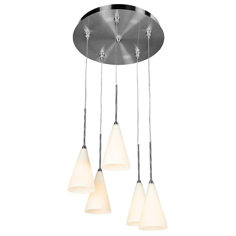 Access Lighting 5-Light Mini Pendant Brushed Steel Finish Opal Glass-DISCONTINUED