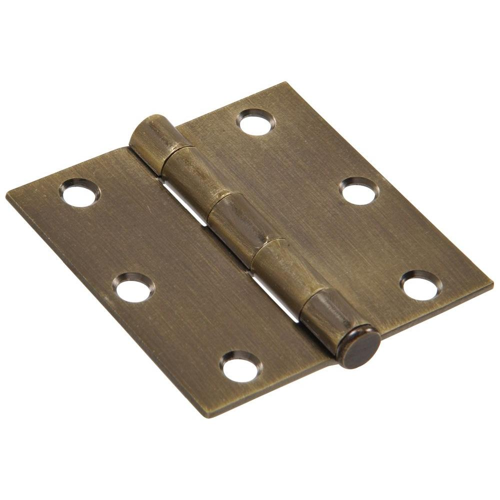 3-1/2 in. Antique Brass Residential Door Hinge with Square Corner Removable
