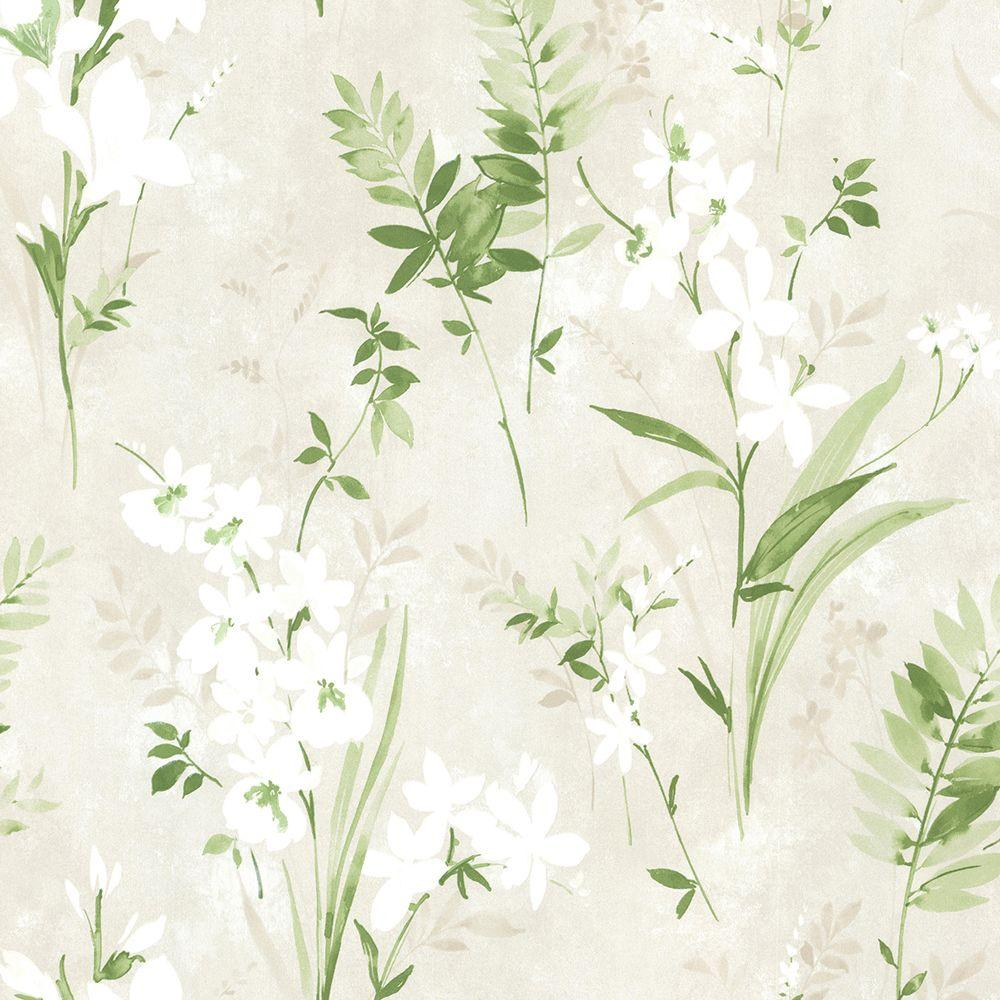 8 in. W x 10 in. H Driselle Green Floral Wallpaper Sample