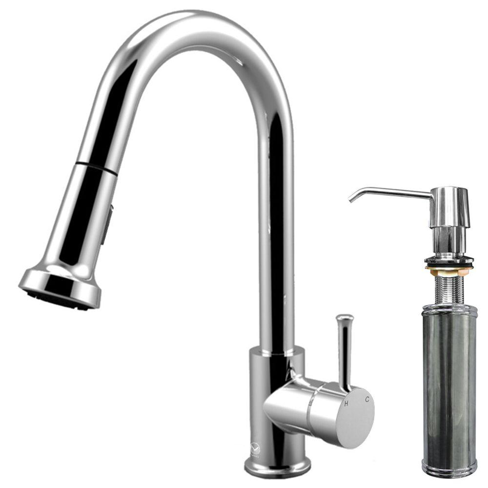 Vigo Single-Handle Pull-Out Sprayer Kitchen Faucet with Soap Dispenser in