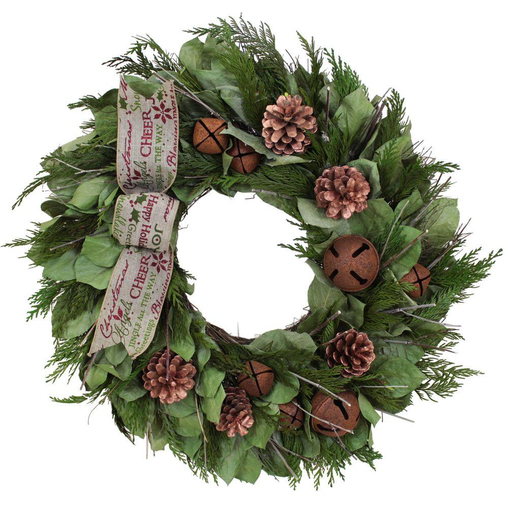 The Christmas Tree Company Homestead Jingle 18 in. Dried Floral Wreath