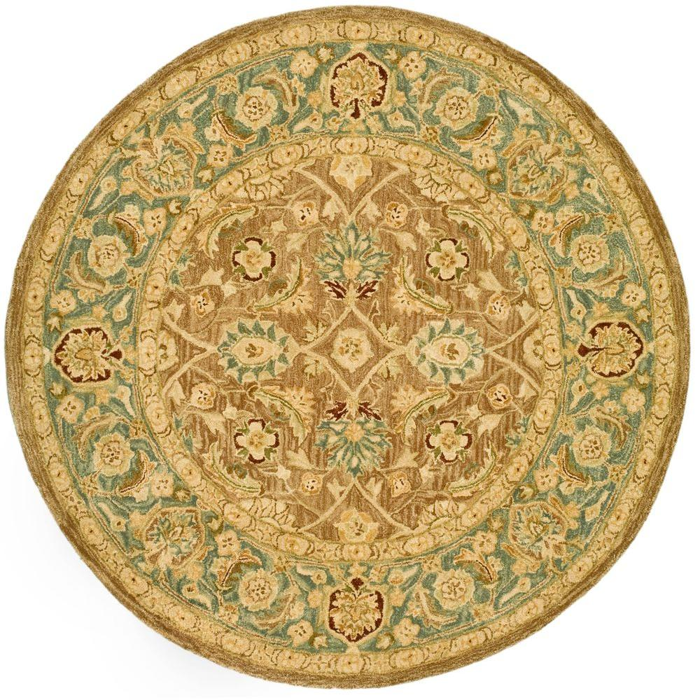 Anatolia Brown/Blue 6 ft. x 6 ft. Round Area Rug