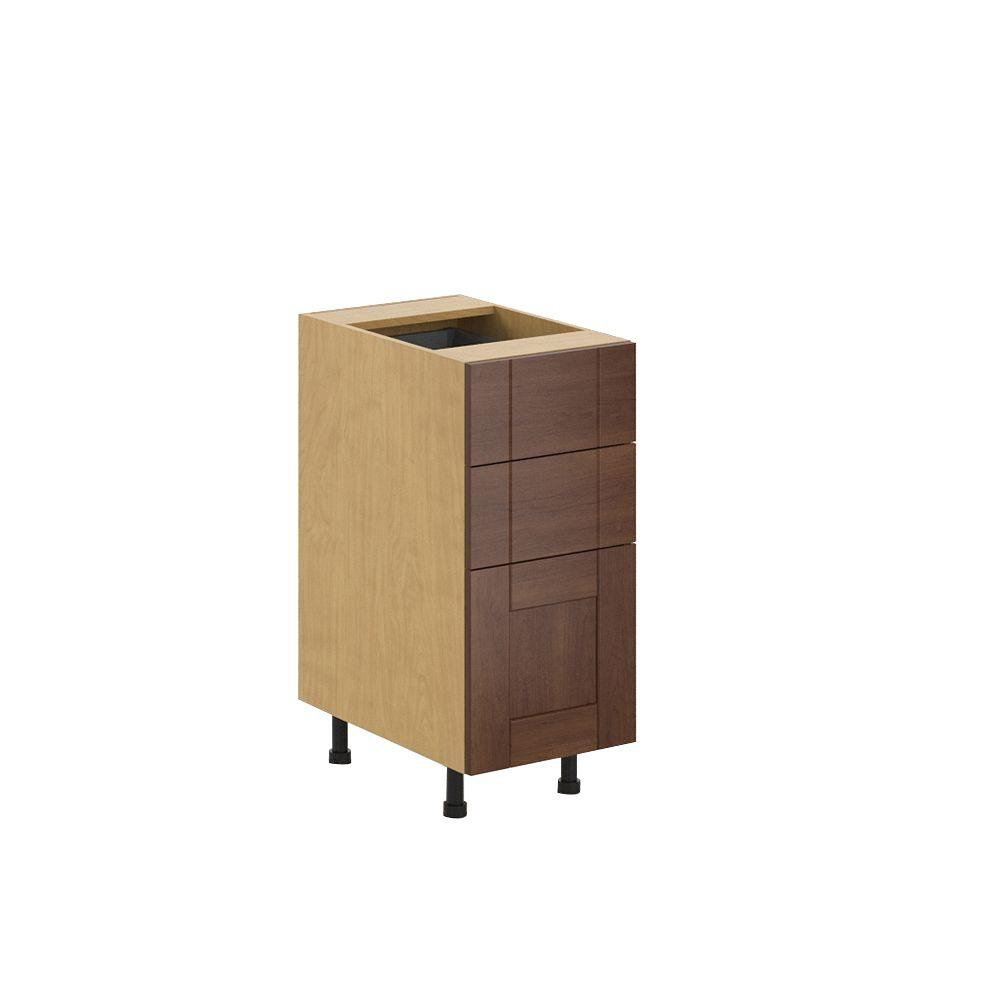 Fabritec Ready to Assemble 15x34.5x24.5 in. Lyon 3-Drawer Base Cabinet in Maple Melamine and Door in Medium Brown