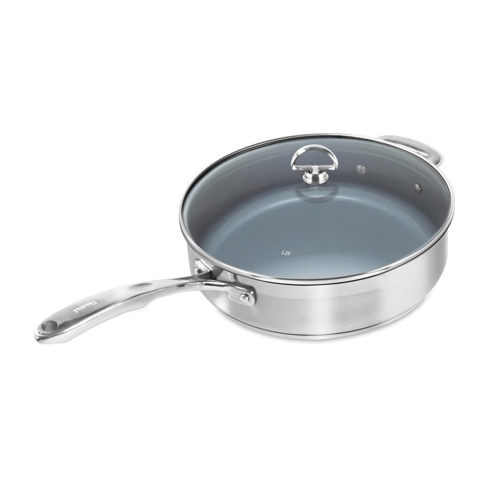 Induction 21 Steel 5 Qt. Ceramic Non-Stick Skillet with Glass Lid
