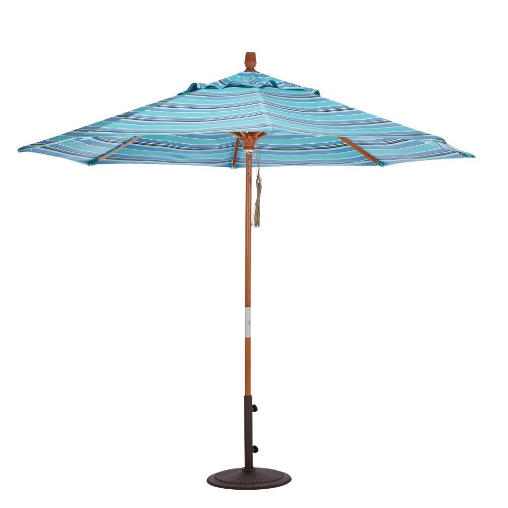 9 ft. Wood Pulley Open Patio Umbrella in Dolce Oasis Sunbrella