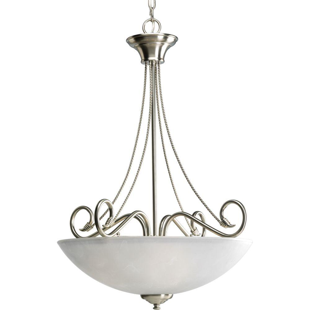 Pavilion Collection 3-Light Brushed Nickel Foyer Pendant