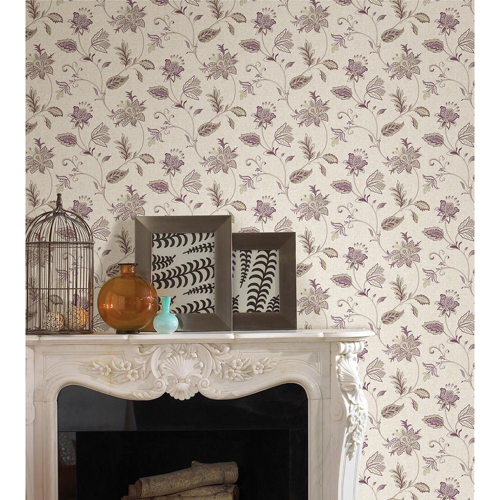 A-Street 56 sq. ft. Georgette Burgundy Jacobean Wallpaper-2657-22208 - The Home