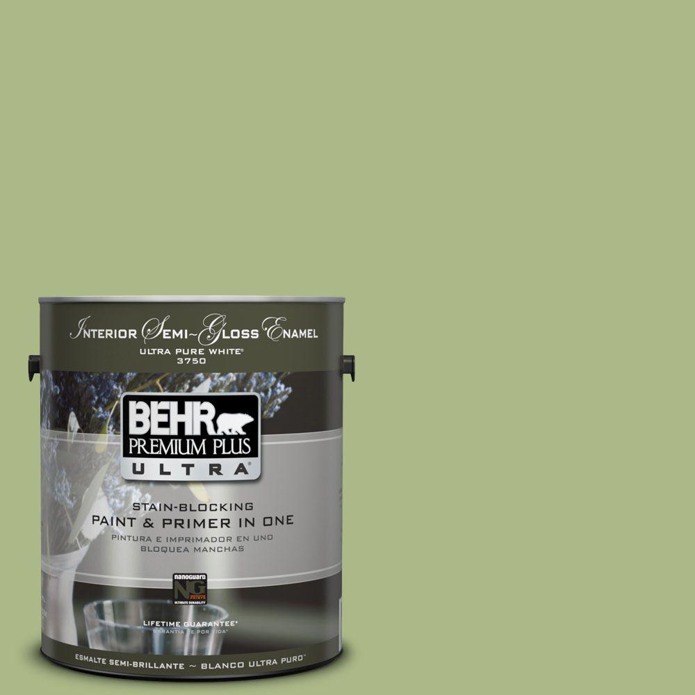 BEHR Premium Plus Ultra 1-gal. #PPU10-7 Lima Green Semi-Gloss Enamel Interior