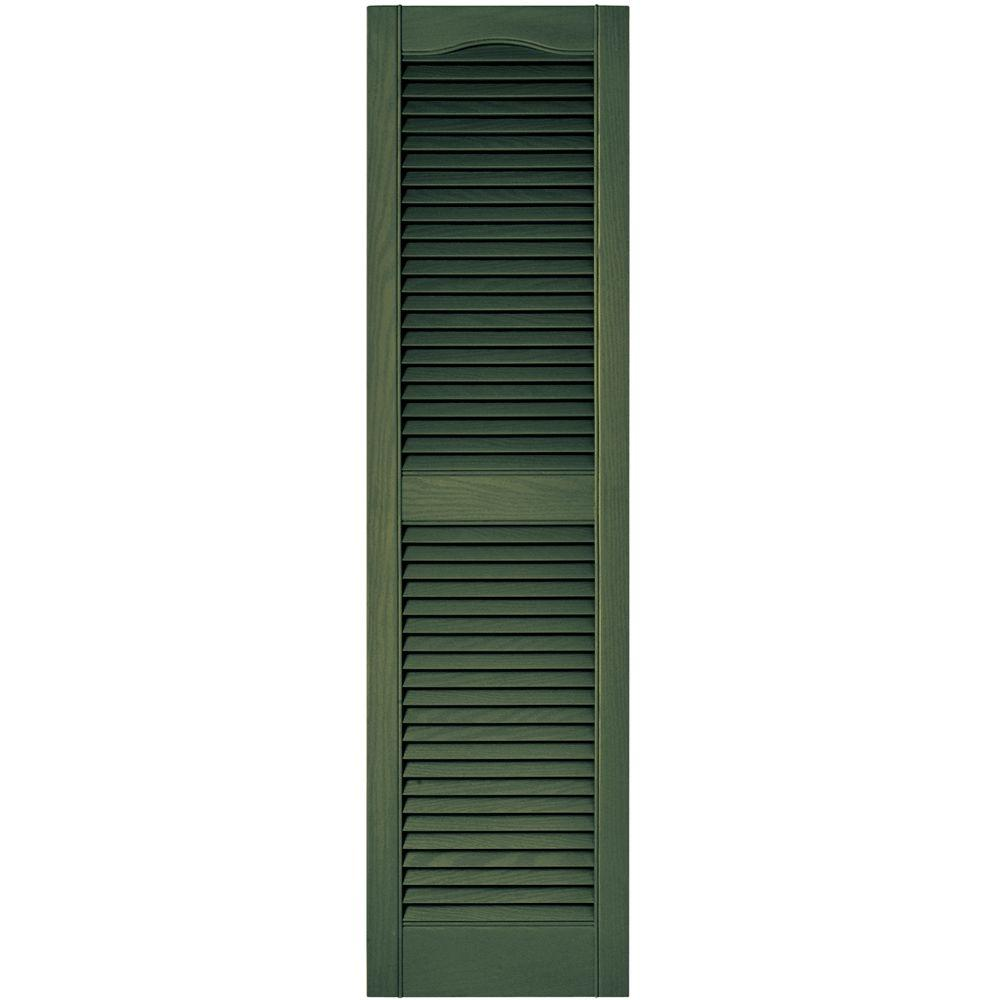 Builders Edge 15 in. x 55 in. Louvered Vinyl Exterior Shutters Pair in #283 Moss