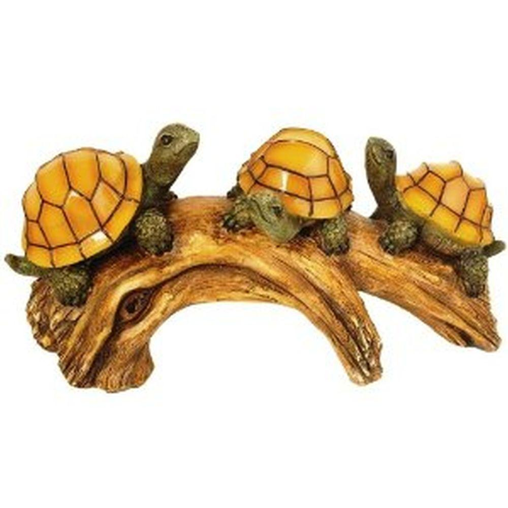 Moonrays 3-Light Outdoor Poly-Resin Solar Powered LED Turtles Log with Glowing Shells