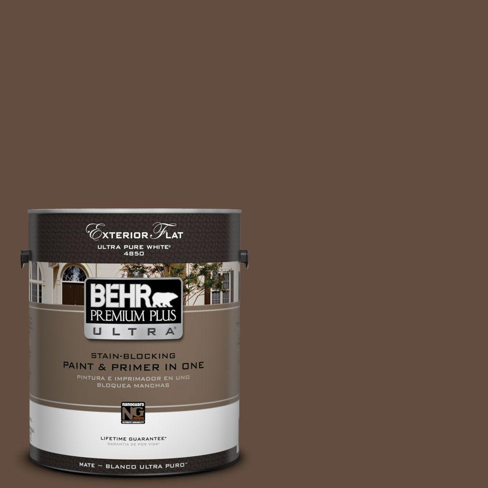 Interior Paint, Exterior Paint & Paint Samples: BEHR Premium Plus Ultra Paint 1-gal. #760B-7 Revival Mahogany Flat Exterior Paint 485301