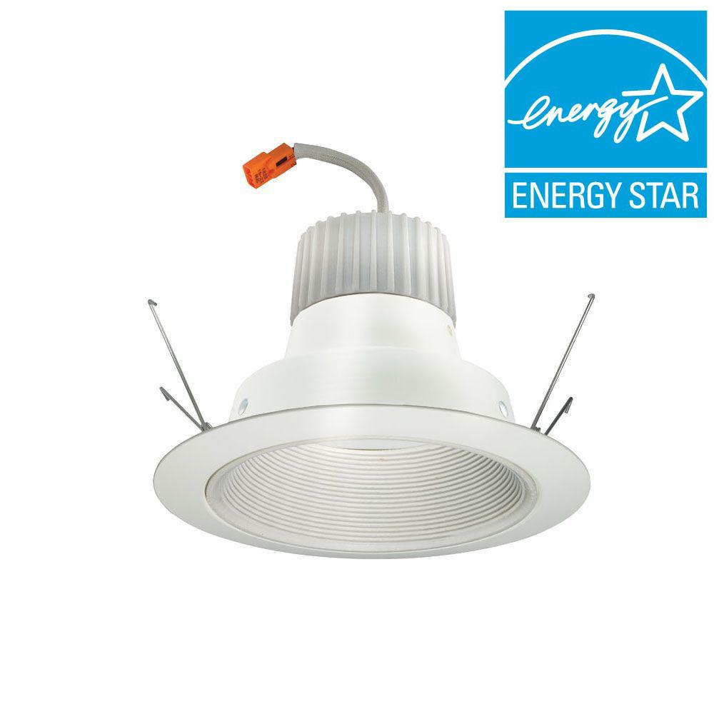 6 in. White Recessed LED Baffle Downlight Retrofit Trim Module with