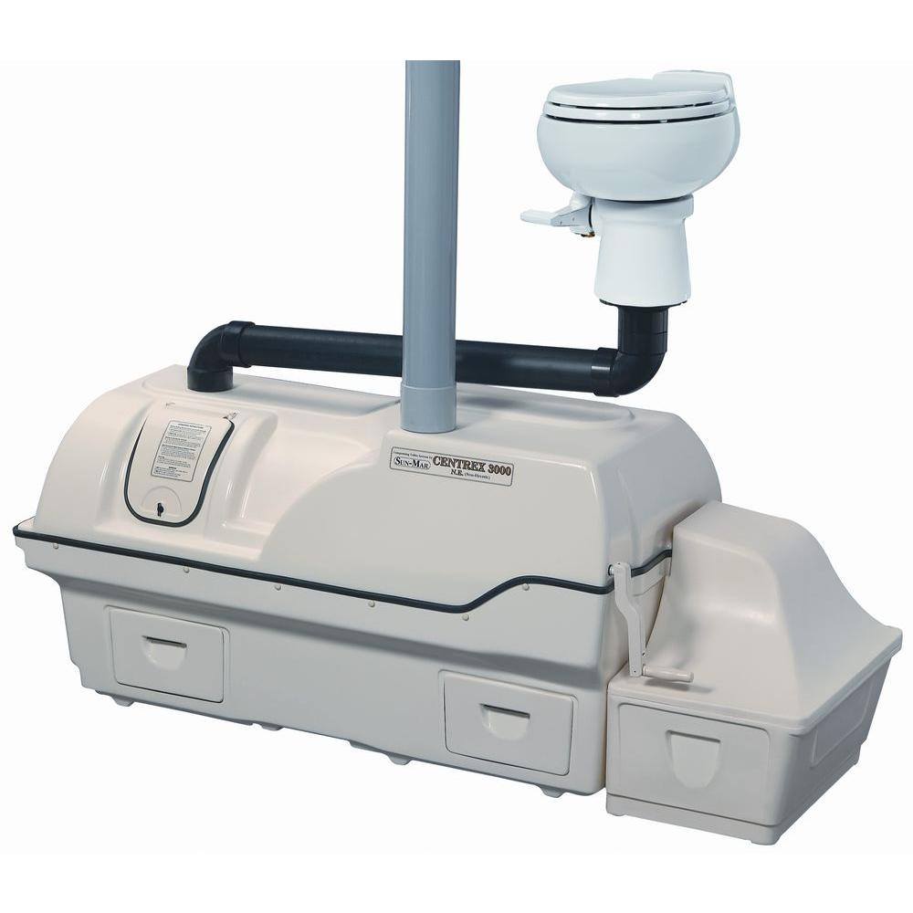 Sun-Mar Centrex 3000 Non-Electric Waterless Ultra High Capacity Central Composting Toilet System in Bone