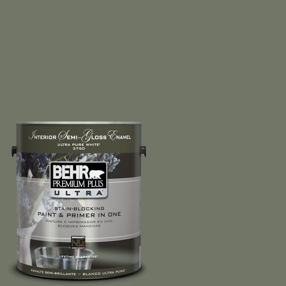 BEHR Premium Plus Ultra 1-gal. #PPU10-19 Conifer Green Semi-Gloss Enamel