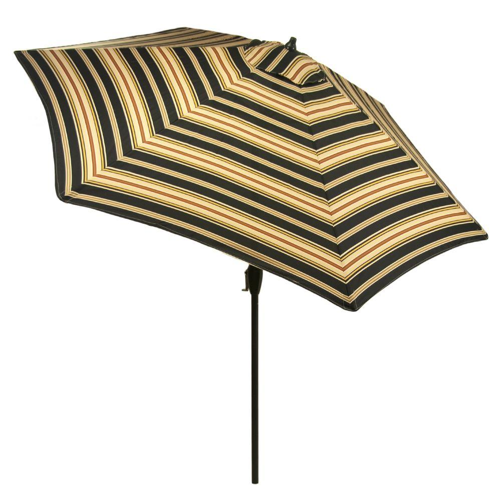 9 ft. Aluminum Market Patio Umbrella in Charcoal Stripe with Push-Button