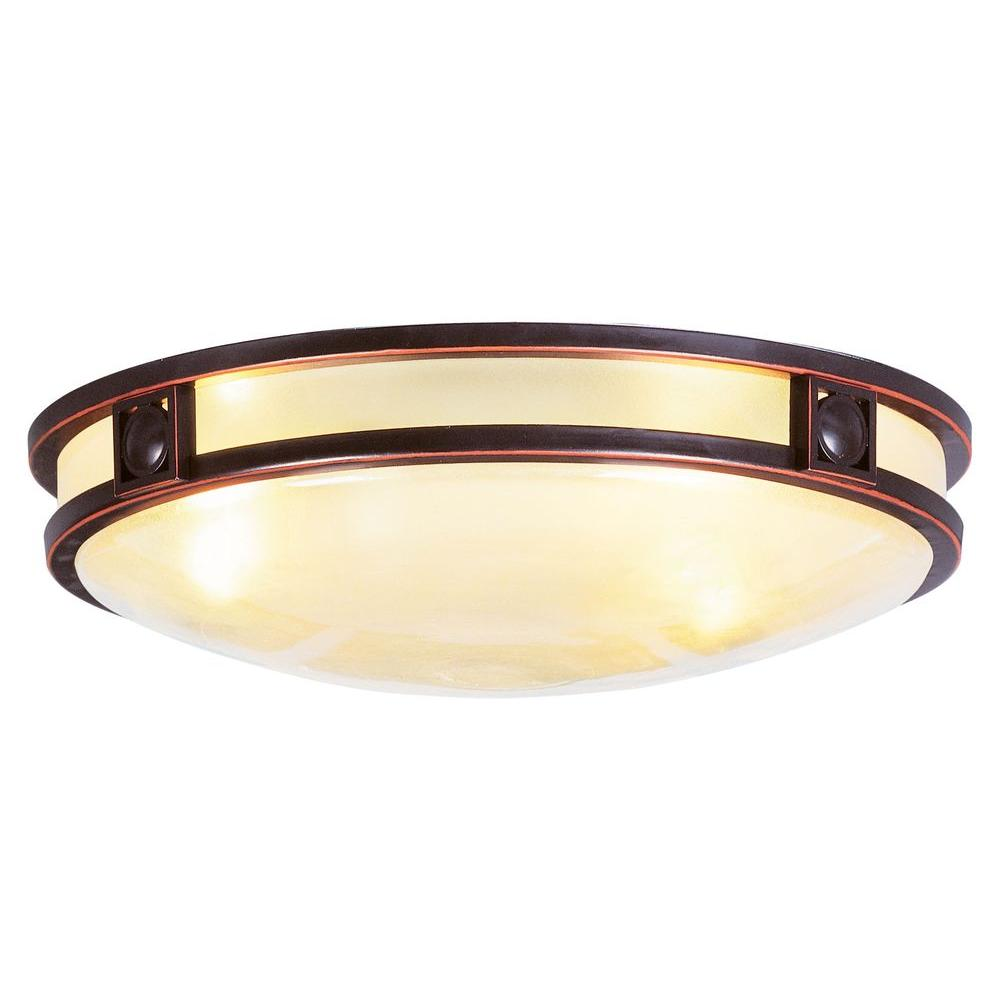 Livex Lighting 3-Light Bronze Flushmount with Iced Champagne Glass Shade-4488-67