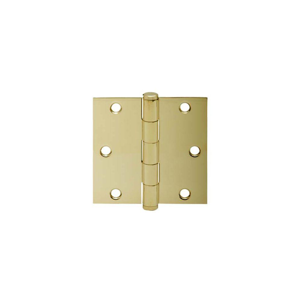 Schlage 3.5 in. Bright Brass Square Hinge (3-Pack)