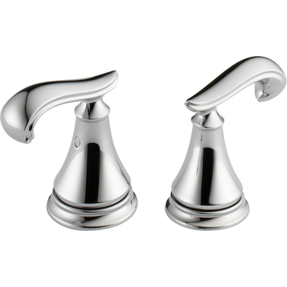Delta Pair of Cassidy French Curve Metal Lever Handles for Bathroom Faucet in Chrome